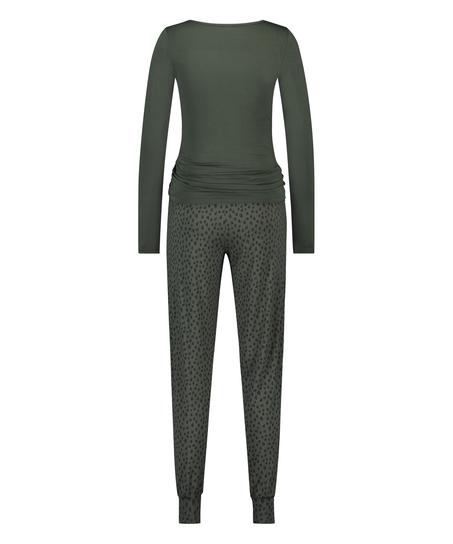 Pyjamaset Lace Dot Leopard, Groen