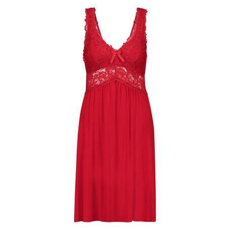 Slipdress Modal lace, Rood