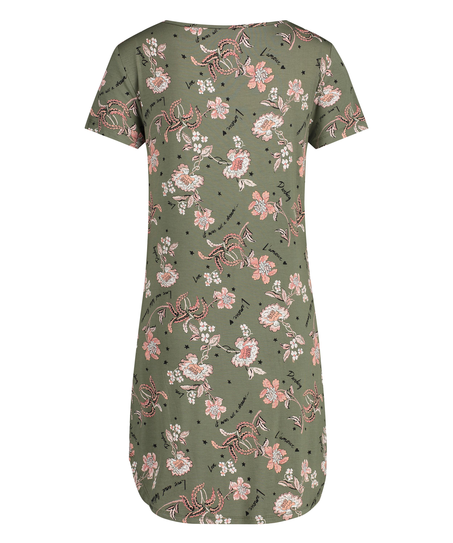Nachthemd korte mouwen Flower Words, Groen, main