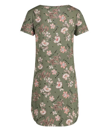 Nachthemd korte mouwen Flower Words, Groen