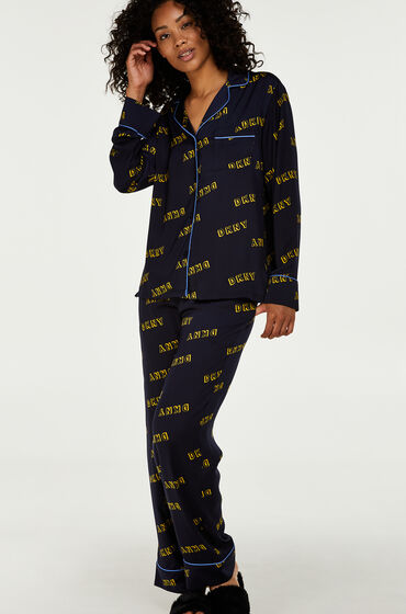 Hunkemöller DKNY lange pyjama set Blauw