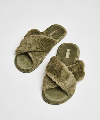 Pantoffels slipper Velour, Groen