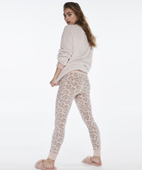 Fleece legging, Roze