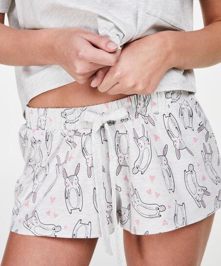 Pyjama short Jersey, Grijs