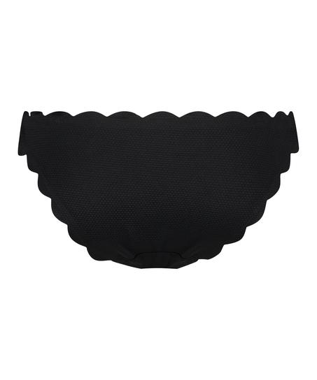 Laag rio bikinibroekje Scallop Glam, Zwart