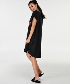 Nachthemd boothals, Zwart