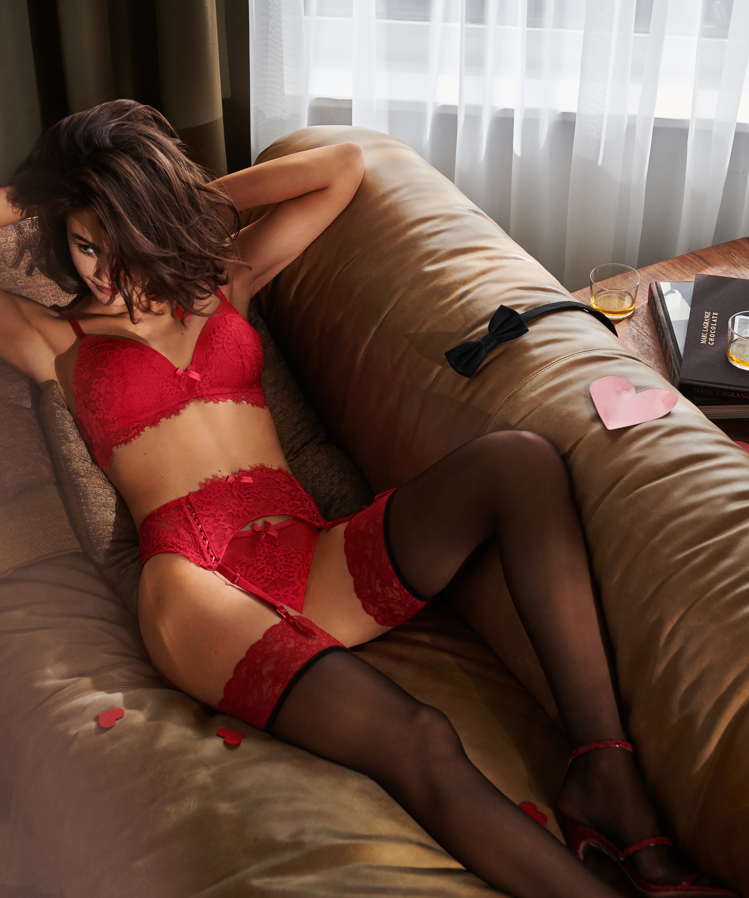 Stocking 15 Denier Fancy Lace Top, Rood, main