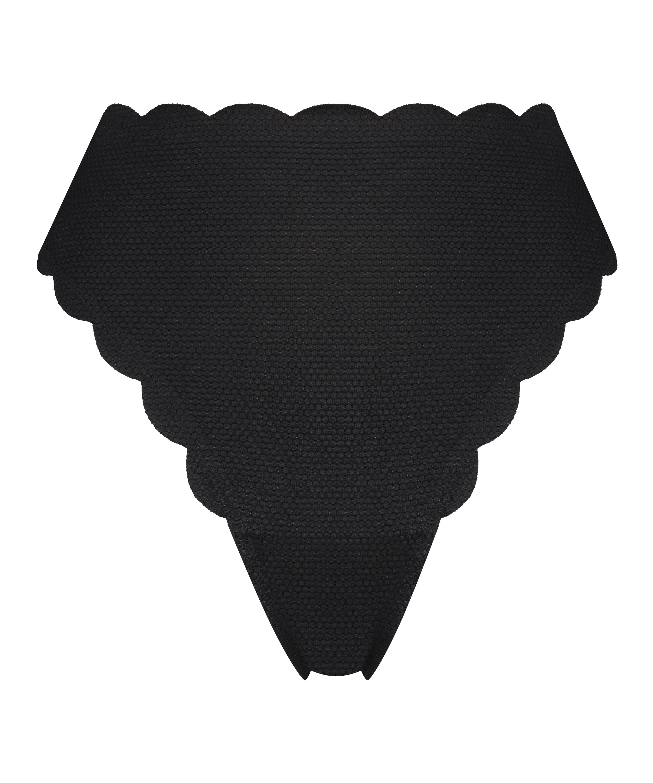 Hoog highleg bikinibroekje Scallop Glam, Zwart, main