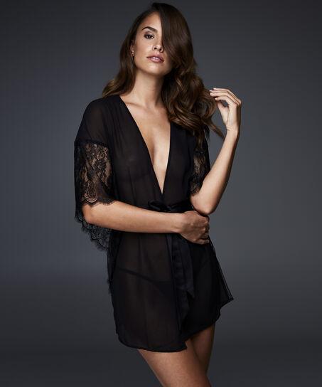 Kimono Chiffon Fine Lace, Zwart