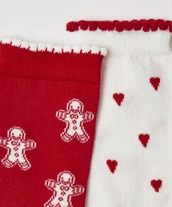 2 paar Katoenen Sokken, Rood