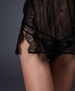 Slipdress Allover Lace, Zwart
