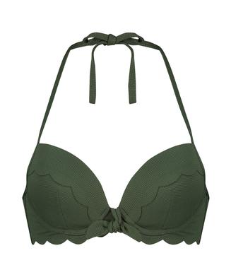 Voorgevormde push-up beugel bikinitop Scallop Glam, Groen