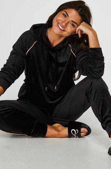 Hunkemöller Pyjama top lange mouwen velours Zwart