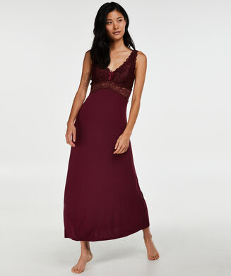 Slipdress Modal lace long, Rood