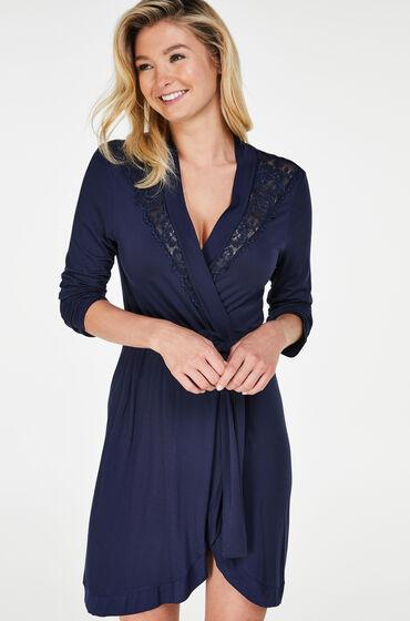 Hunkemöller Badjas Modal Lace Blauw