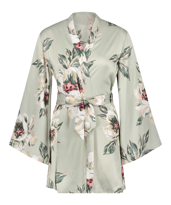 Kimono satin print, Blauw, main