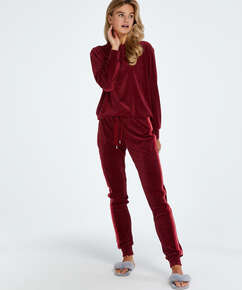 Tall Pyjamabroek Velours, Rood