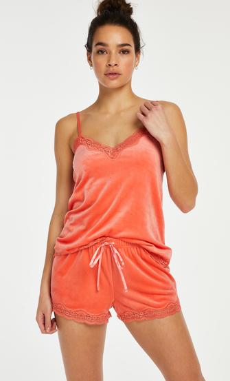 Cami Velours Lace, Oranje