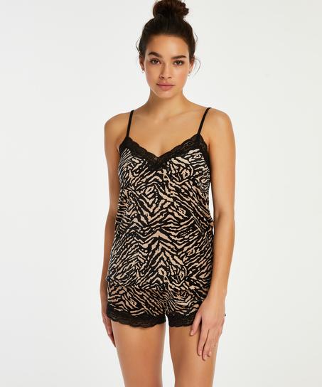 Shorts Velours Zebra, Zwart