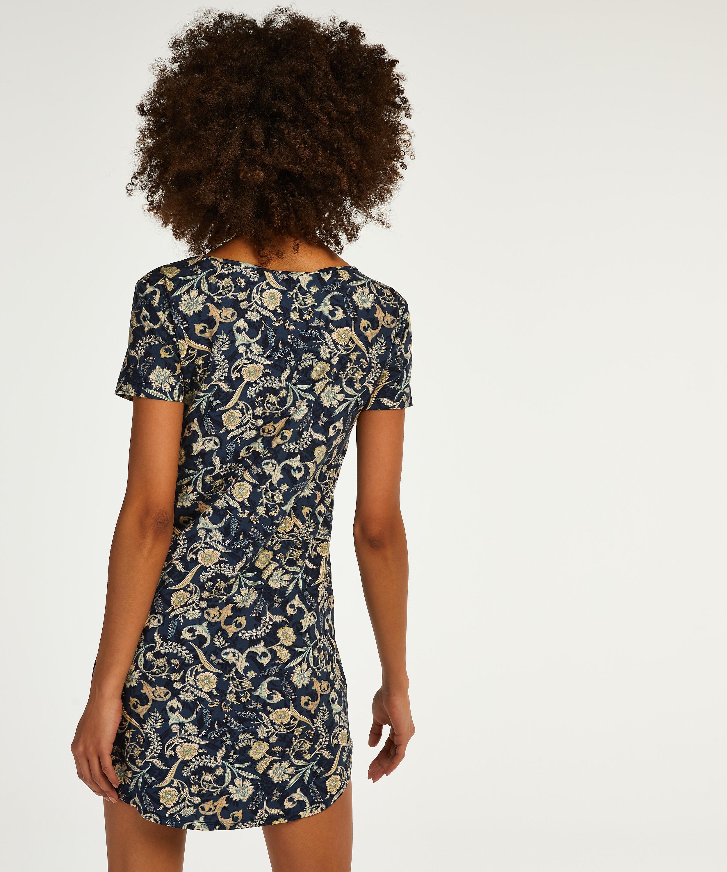 Nachthemd korte mouwen Jersey, Blauw, main
