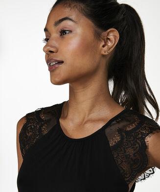 Singlet Jersey Lace, Zwart