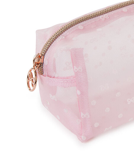 Make-up tas Dot Mesh, Roze