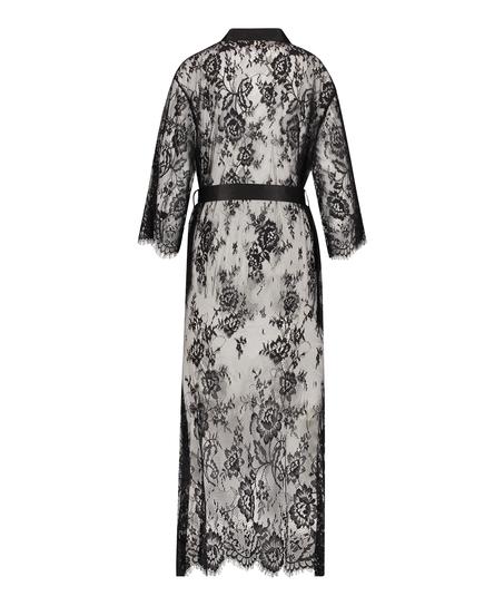 Lange Kimono Allover Lace, Zwart