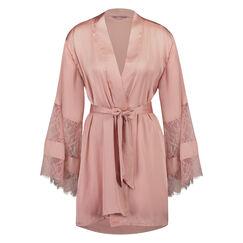 Lace Satin kimono, Roze