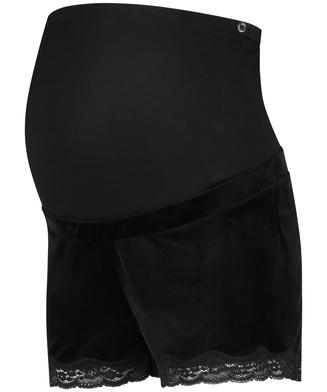 Zwangerschapsshort Velours, Zwart
