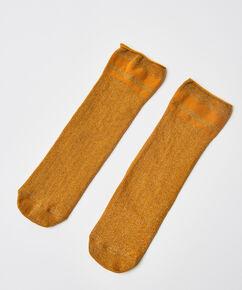 Sokken lurex rib, Geel