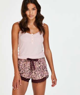 Pyjama short Jersey lace, Rood