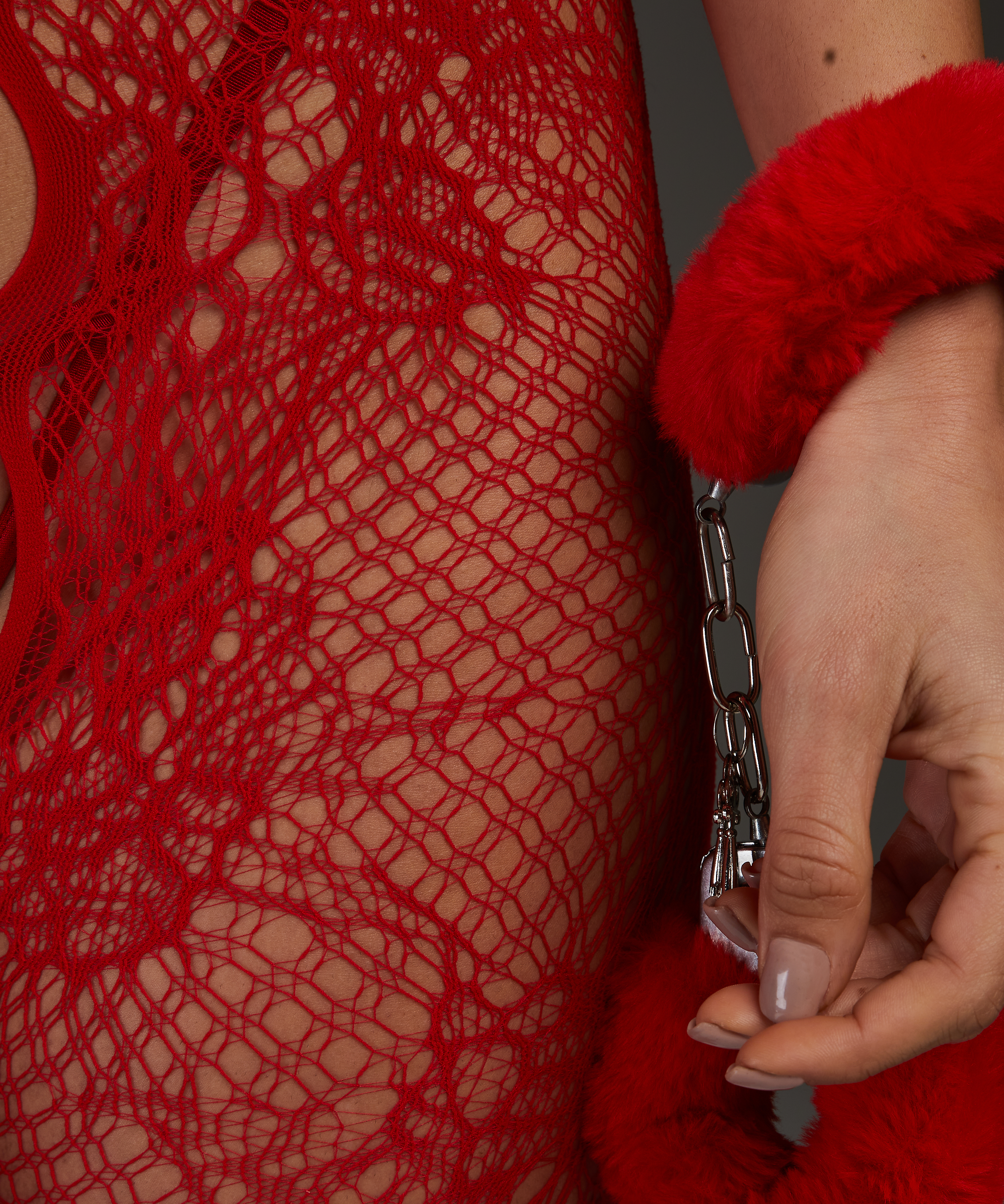 Private open lace Catsuit, Rood, main