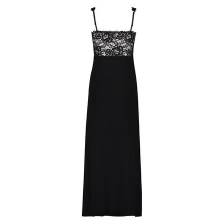 Slipdress Modal lace long, Zwart