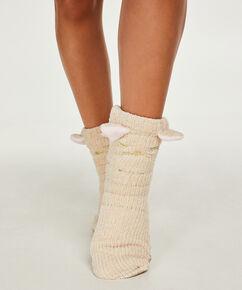 Slof sokken Fluffy, Wit