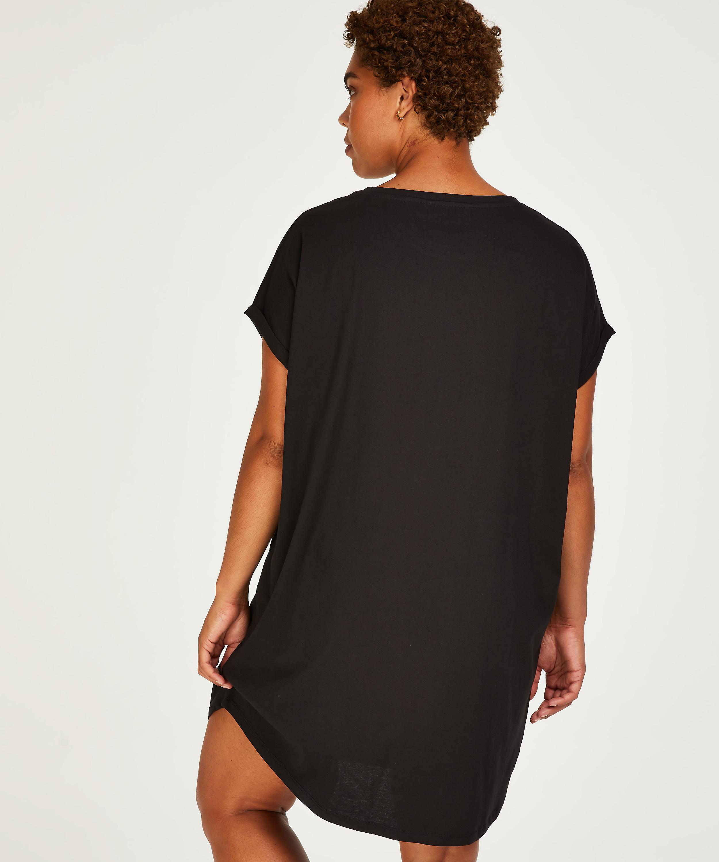 Nachthemd ronde hals, Zwart, main