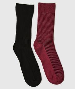 2 paar sokken Rib Soft Touch, Rood