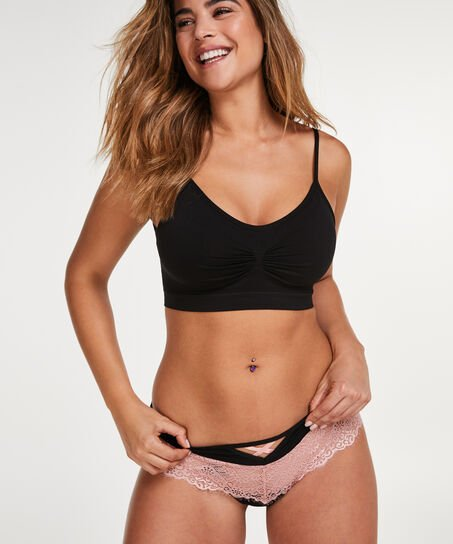 Naadloze strappy top, Zwart