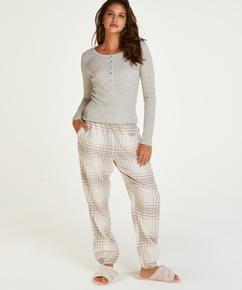 Pyjamabroek Twill Check, Grijs