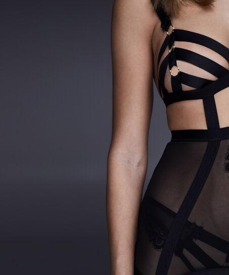 Slipdress mesh strapping Ginger, Zwart