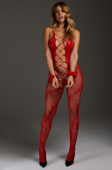 Hunkemöller Private open lace Catsuit Rood