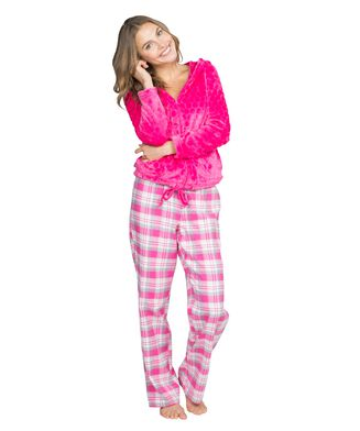Pyjama pants Teddy check, Roze