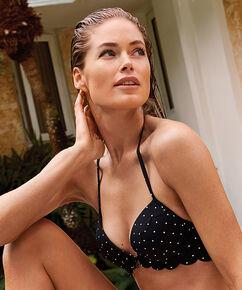 Voorgevormde push-up beugel bikinitop Scallop Goddess Doutzen, Zwart
