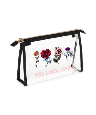 Make-up tasje Floral, Zwart