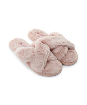 Huisslippers Fake Fur Crossed, Roze