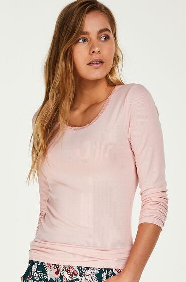 Hunkemöller Pyjama top lange mouwen rib Roze