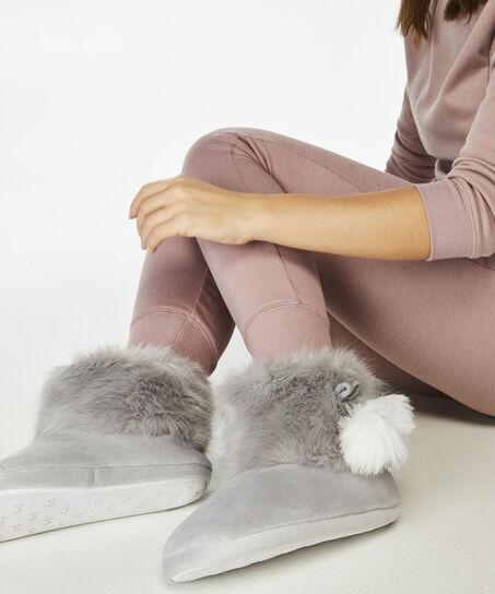 Pantoffel Textured Fur, Grijs