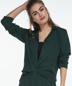Pyjama jasje woven jacquard, Groen
