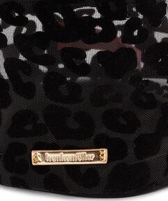 Make up tas mesh leopard groot, Zwart