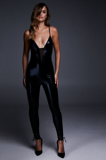 Hunkemöller Catsuit Mesh Lace-up Zwart