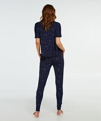 Pyjama top korte mouwen loose fit, Blauw